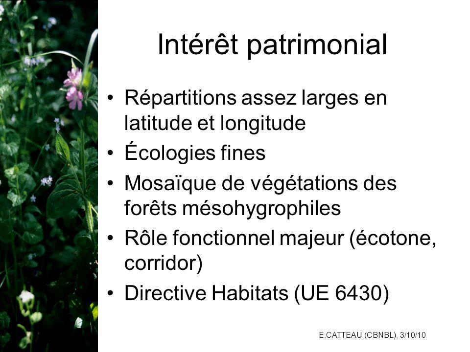 Intérêt patrimonial Répartitions assez larges en latitude et longitude