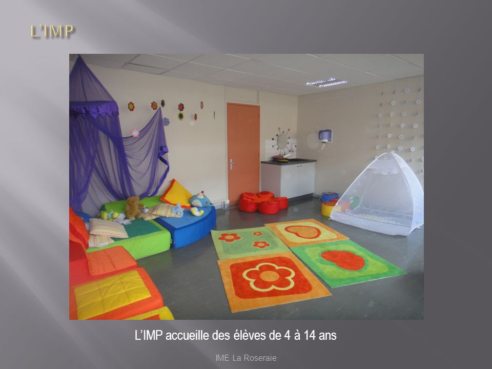 L'IMP L'IMP accueille des élèves de 4 à 14 ans IME La Roseraie