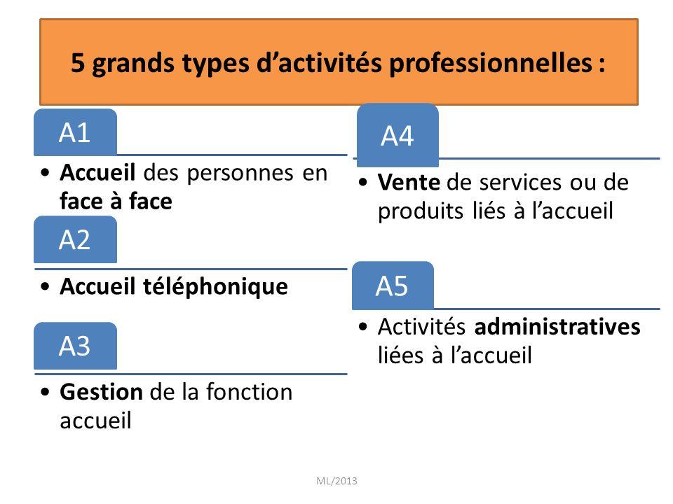 5 grands types d'activités professionnelles :