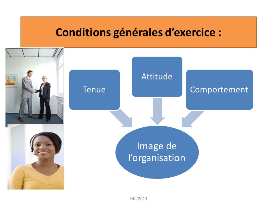 Conditions générales d'exercice :