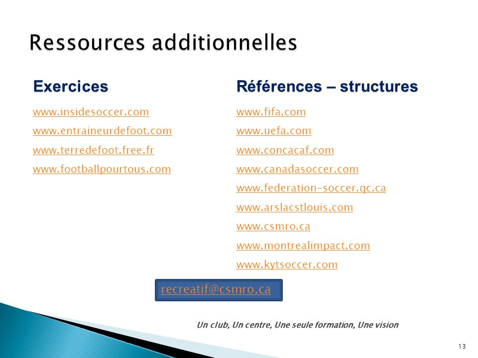 Ressources additionnelles