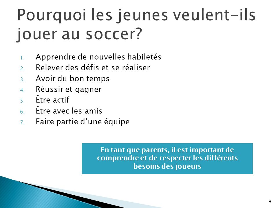 Pourquoi les jeunes veulent-ils jouer au soccer