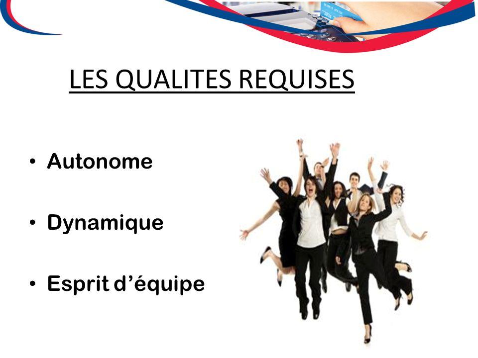 LES QUALITES REQUISES Autonome Dynamique Esprit d'équipe