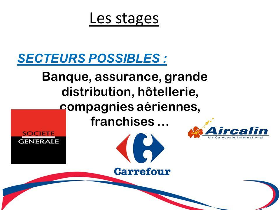 Les stages SECTEURS POSSIBLES :