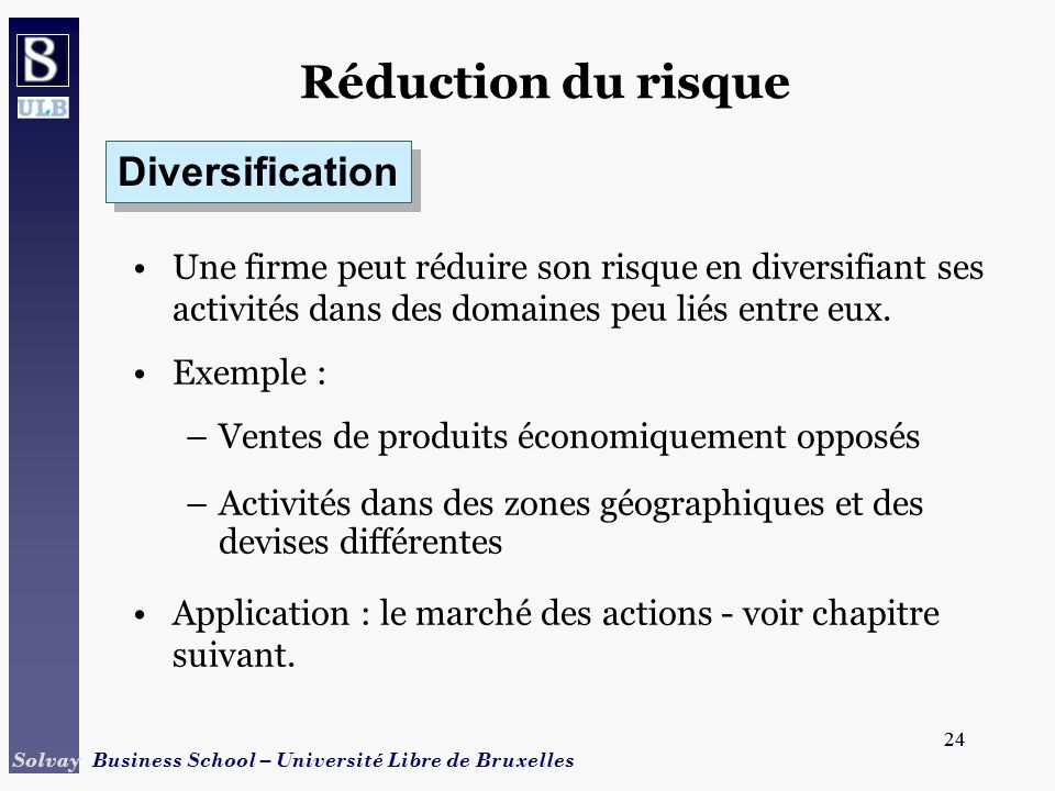 Réduction du risque Diversification