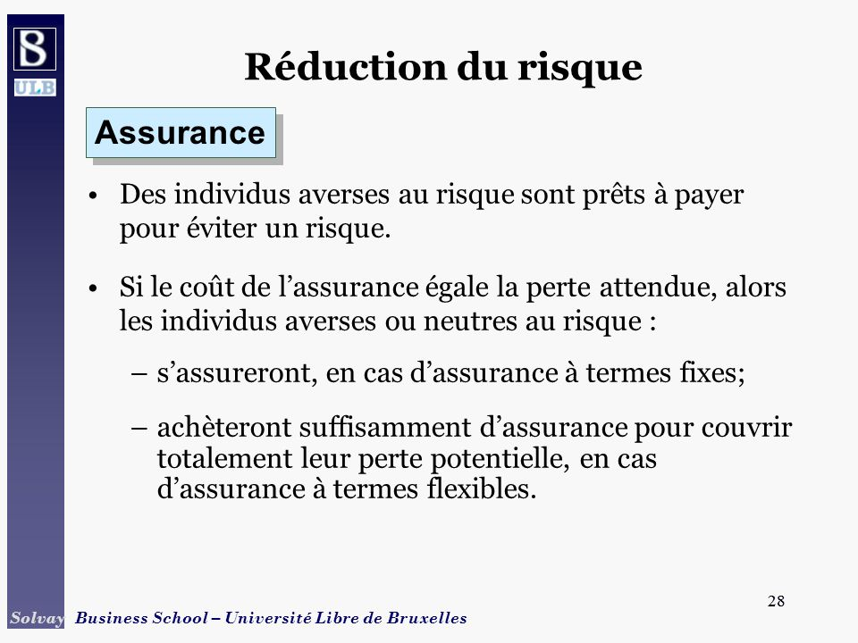 Réduction du risque Assurance