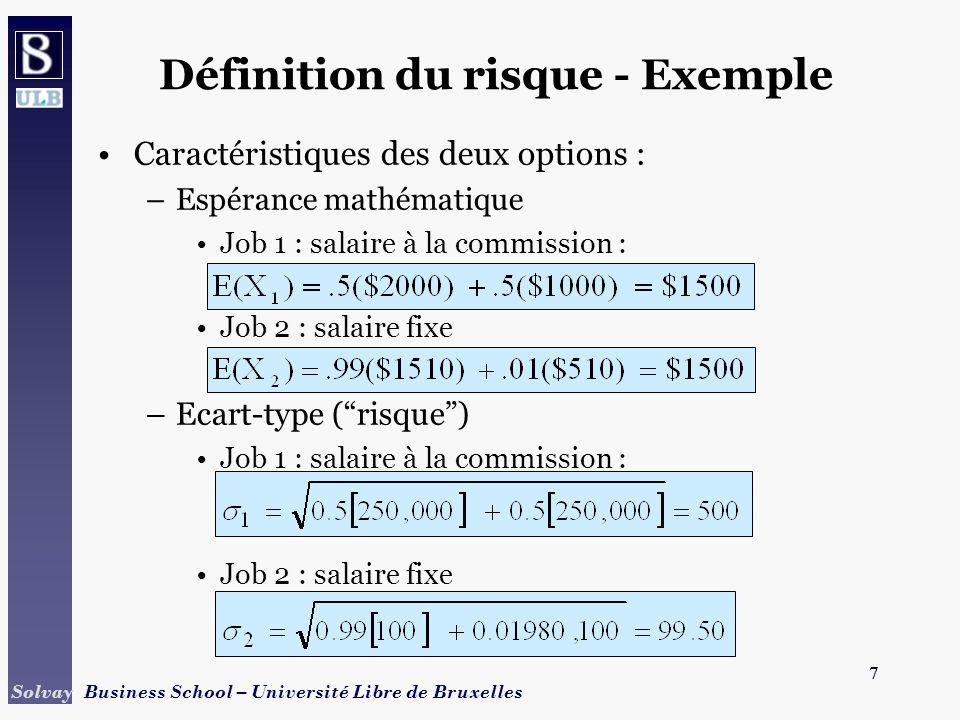Définition du risque - Exemple