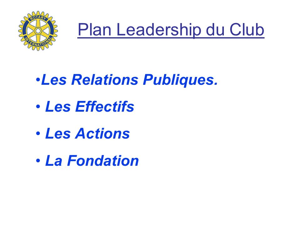 Plan Leadership du Club