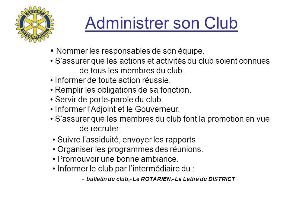 Administrer son Club Nommer les responsables de son équipe.