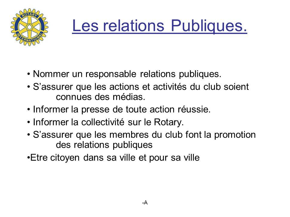 Les relations Publiques.