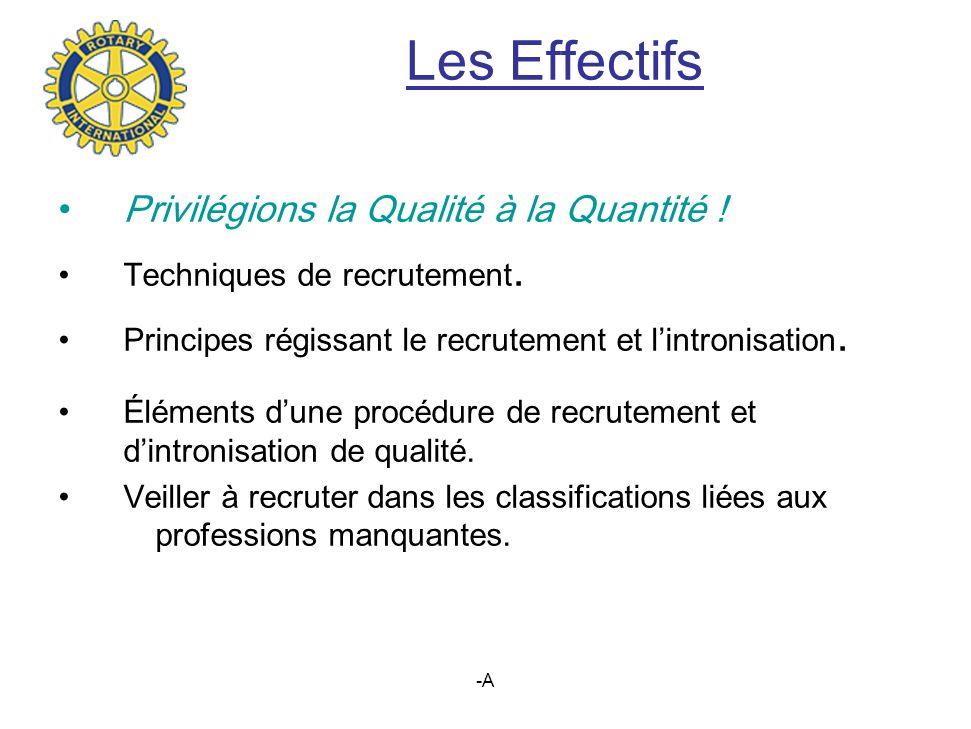 Les Effectifs Privilégions la Qualité à la Quantité !