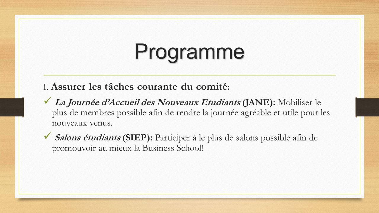 Programme I. Assurer les tâches courante du comité: