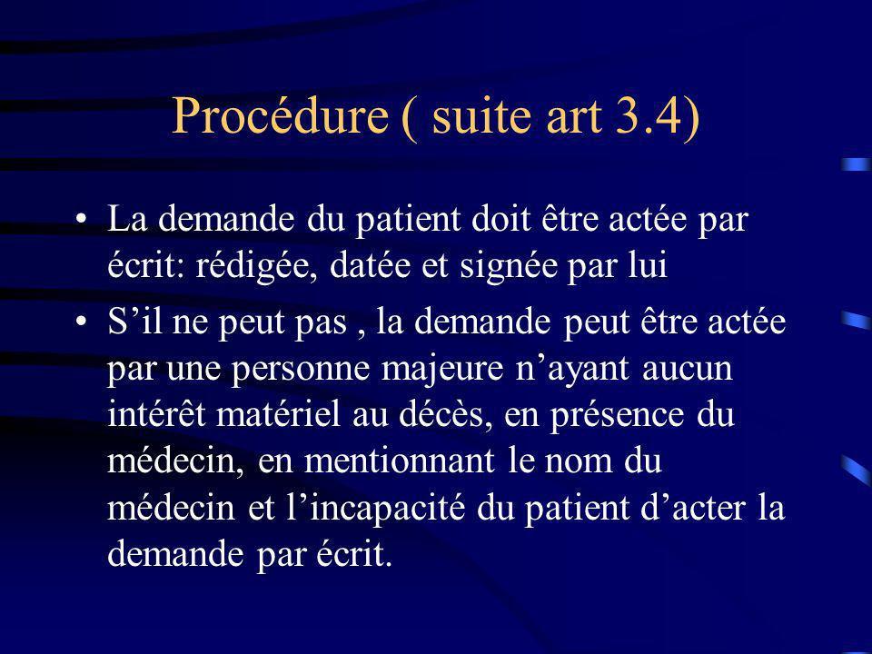 Procédure ( suite art 3.4) La demande du patient doit être actée par écrit: rédigée, datée et signée par lui.