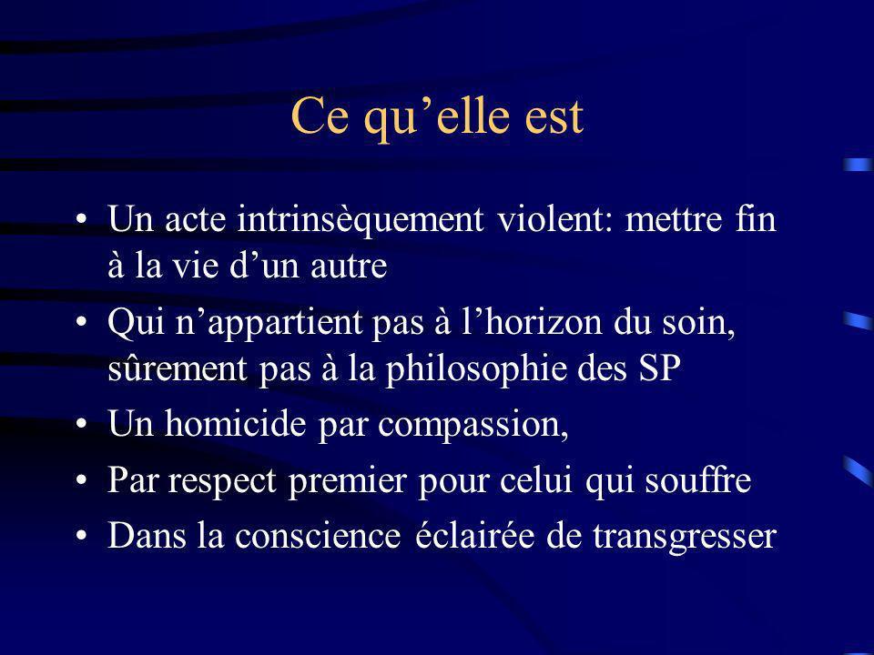 Ce qu'elle est Un acte intrinsèquement violent: mettre fin à la vie d'un autre.