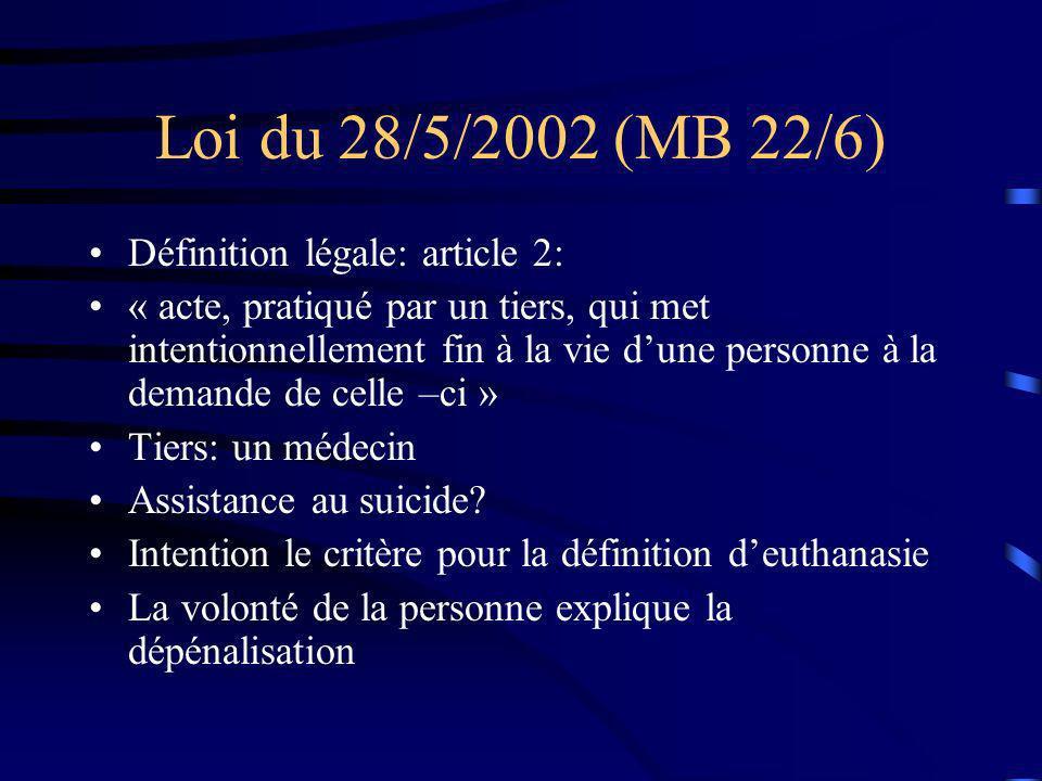 Loi du 28/5/2002 (MB 22/6) Définition légale: article 2: