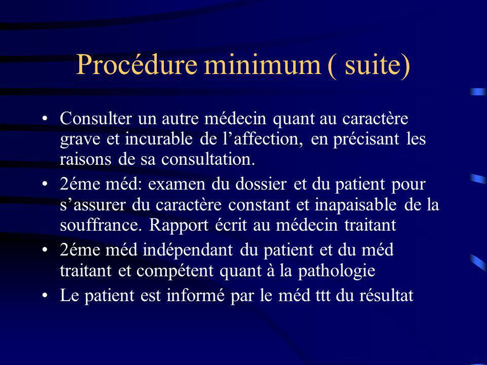 Procédure minimum ( suite)