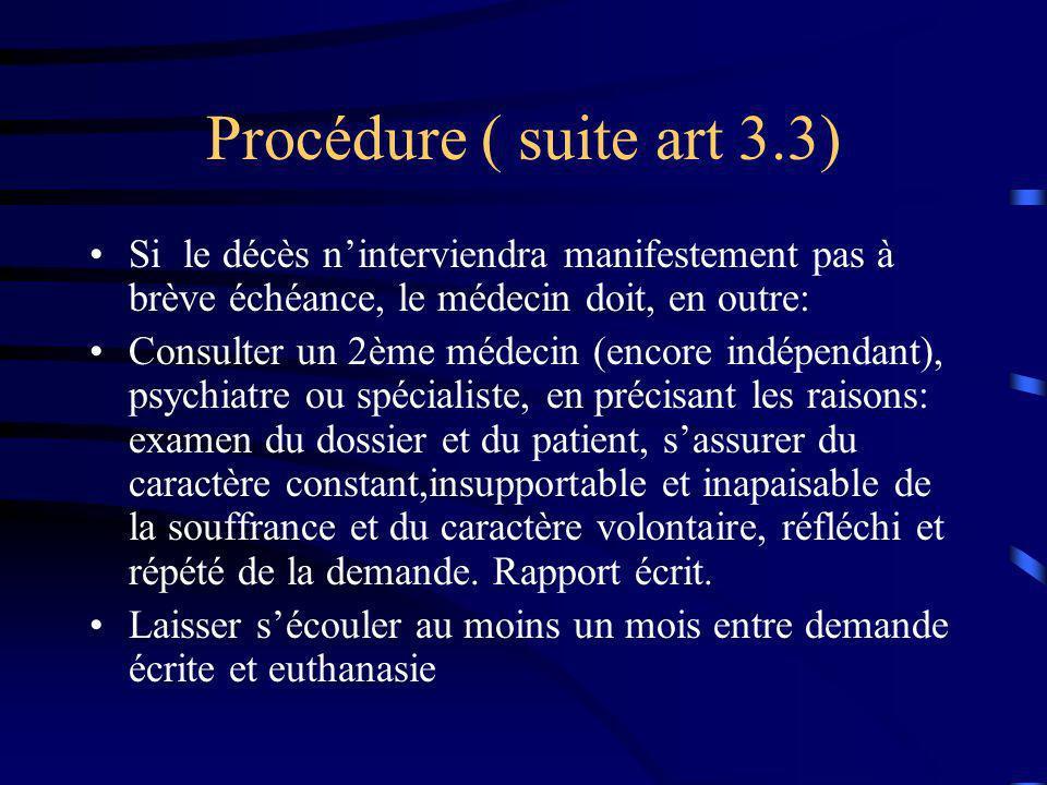 Procédure ( suite art 3.3) Si le décès n'interviendra manifestement pas à brève échéance, le médecin doit, en outre: