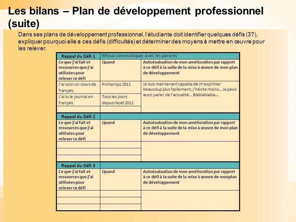 Les bilans – Plan de développement professionnel (suite)