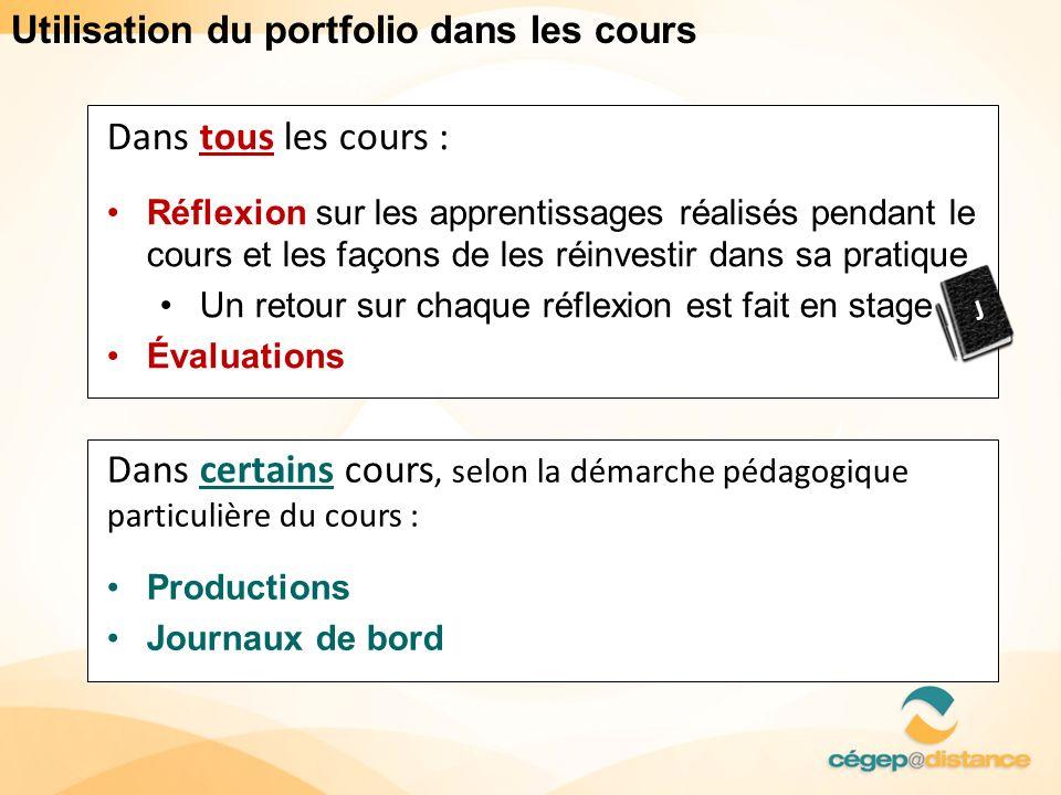 Utilisation du portfolio dans les cours