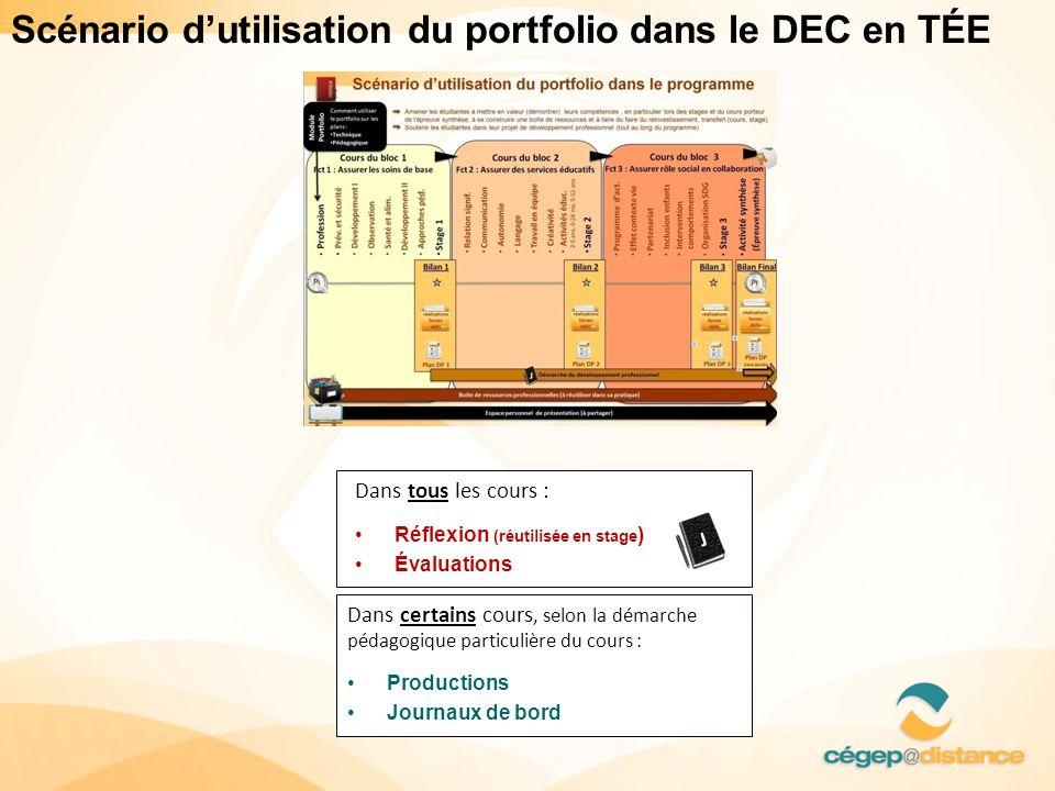Scénario d'utilisation du portfolio dans le DEC en TÉE