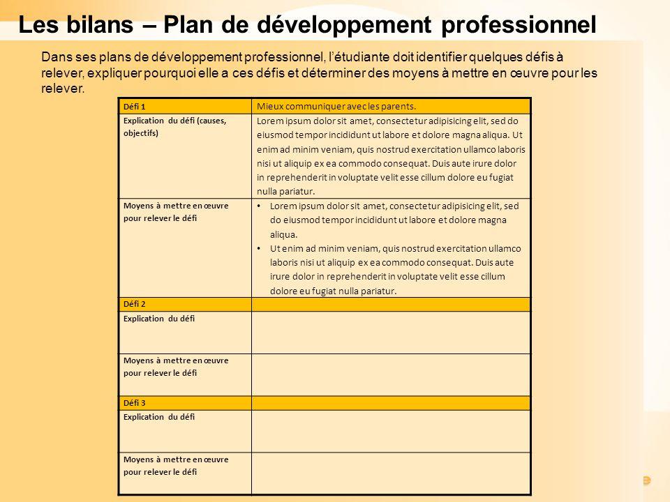 Les bilans – Plan de développement professionnel