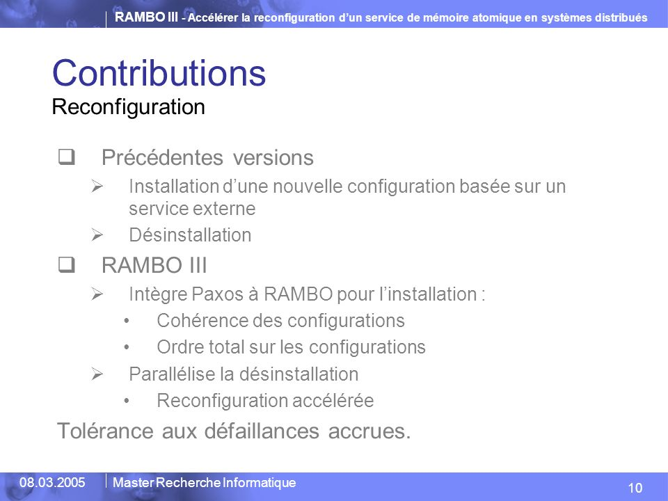 Contributions Reconfiguration Précédentes versions RAMBO III