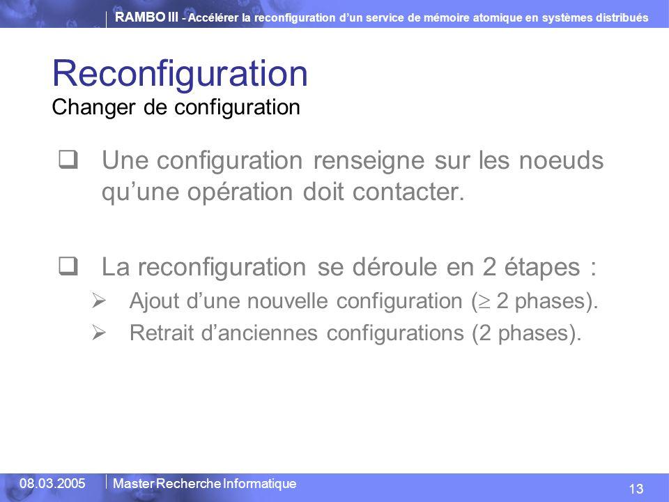 Reconfiguration Changer de configuration. Une configuration renseigne sur les noeuds qu'une opération doit contacter.
