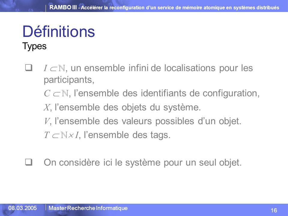 Définitions Types. I  ℕ, un ensemble infini de localisations pour les participants, C  ℕ, l'ensemble des identifiants de configuration,