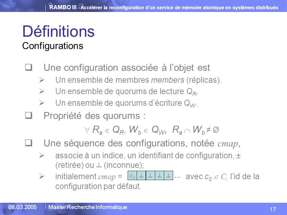 Définitions Configurations Une configuration associée à l'objet est