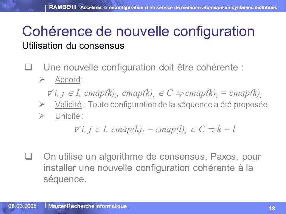Cohérence de nouvelle configuration