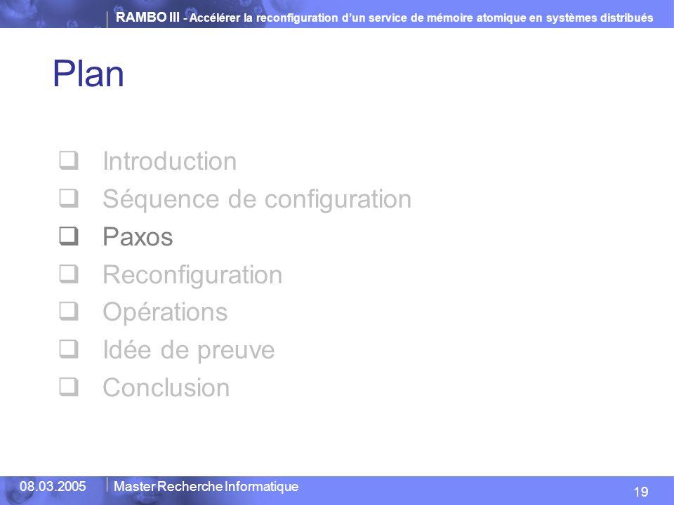 Plan Introduction Séquence de configuration Paxos Reconfiguration