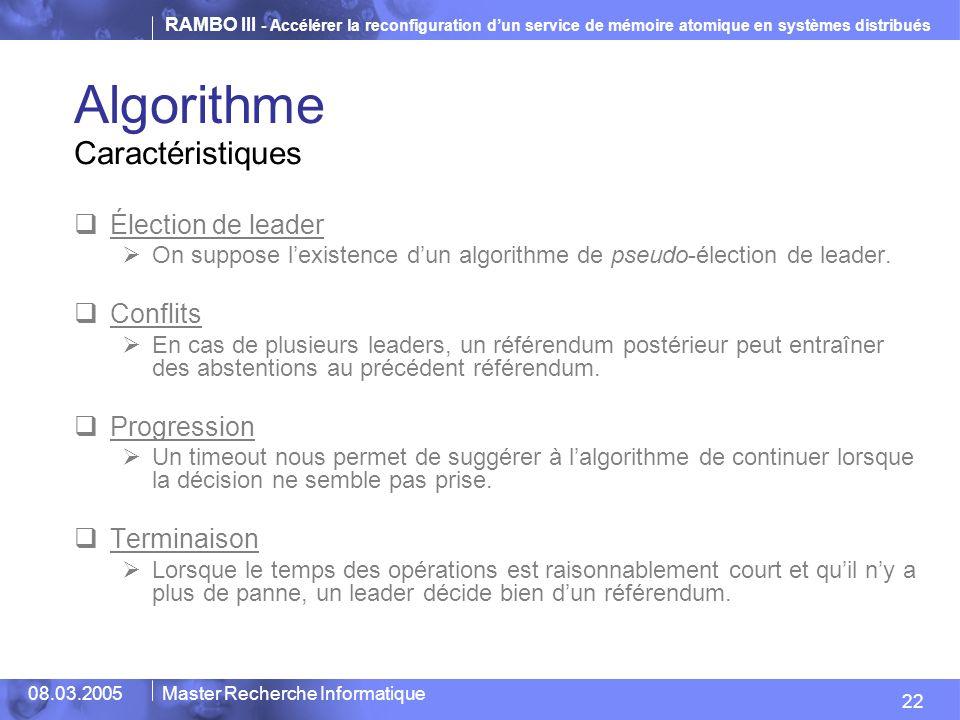 Algorithme Caractéristiques Élection de leader Conflits Progression