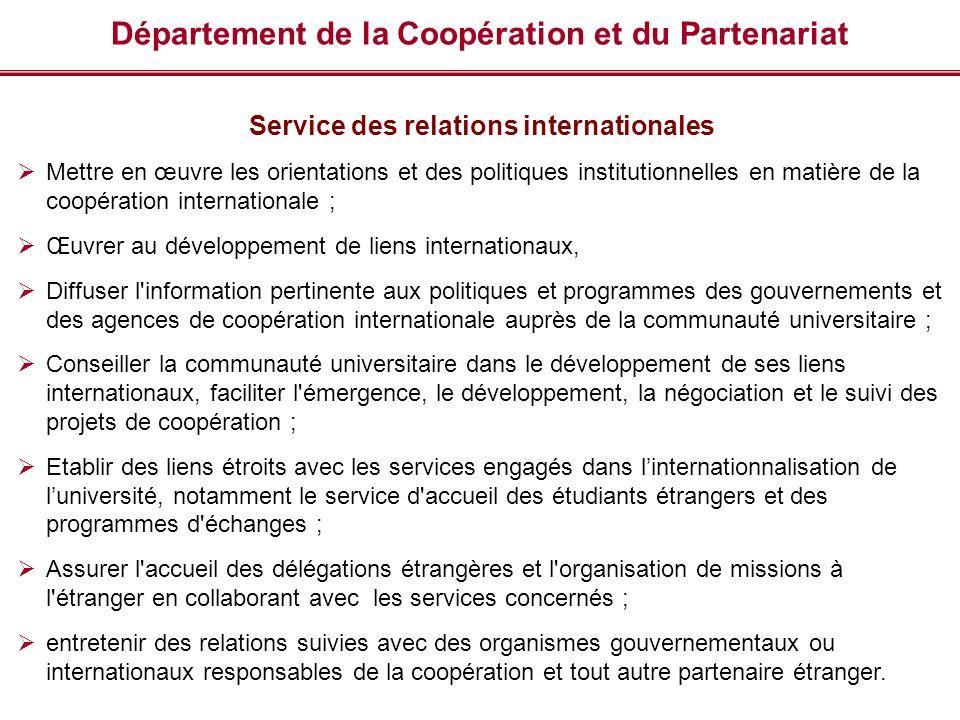 Département de la Coopération et du Partenariat