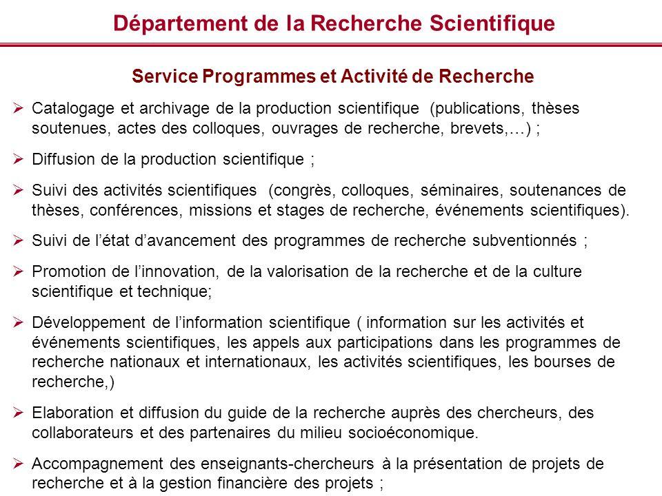Département de la Recherche Scientifique