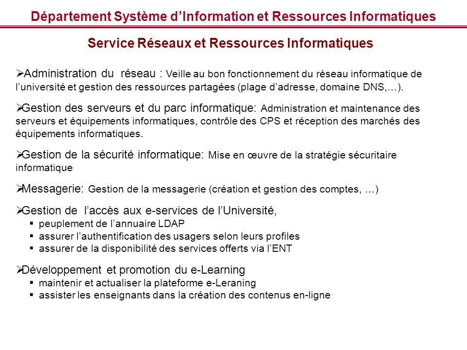 Département Système d'Information et Ressources Informatiques