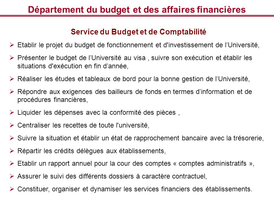 Département du budget et des affaires financières