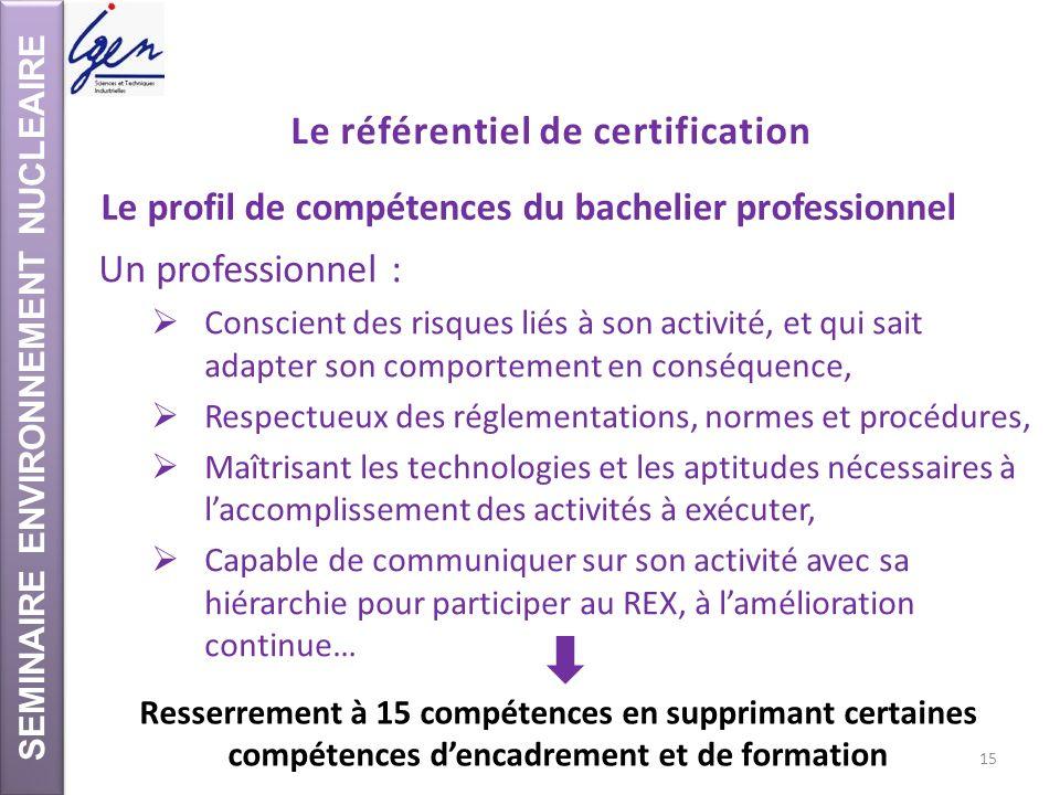 SEMINAIRE ENVIRONNEMENT NUCLEAIRE Le référentiel de certification