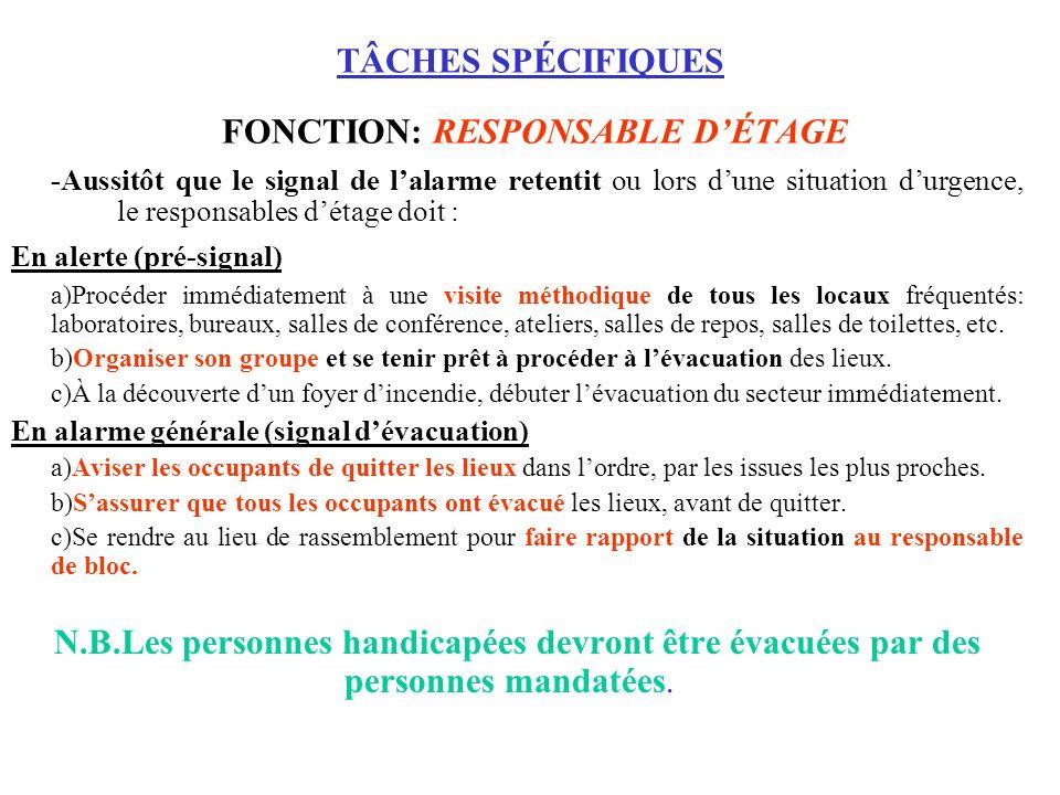 TÂCHES SPÉCIFIQUES FONCTION: RESPONSABLE D'ÉTAGE