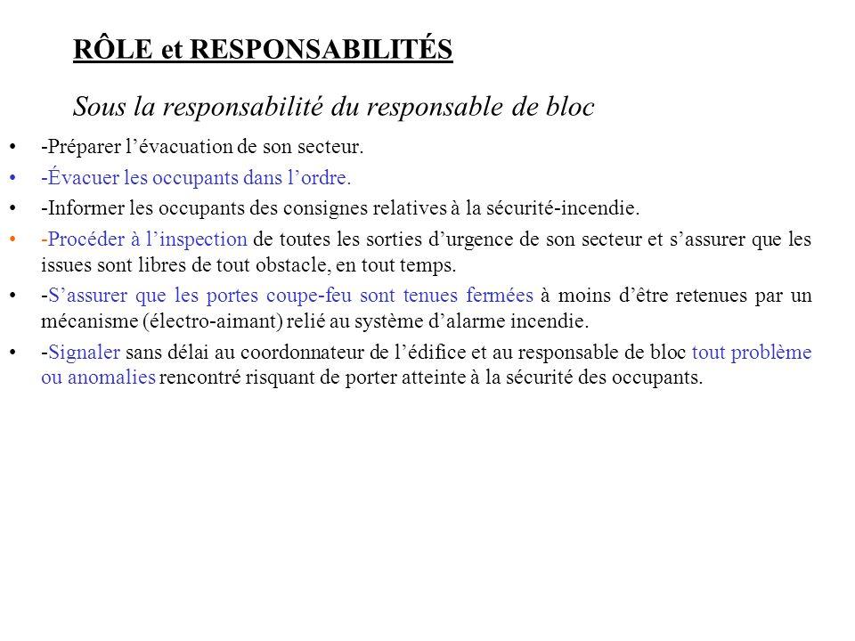 RÔLE et RESPONSABILITÉS Sous la responsabilité du responsable de bloc