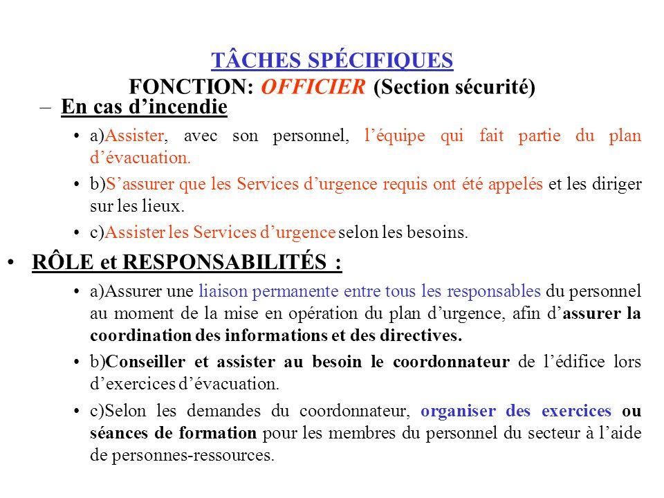 TÂCHES SPÉCIFIQUES FONCTION: OFFICIER (Section sécurité)