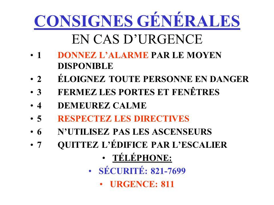 CONSIGNES GÉNÉRALES EN CAS D'URGENCE