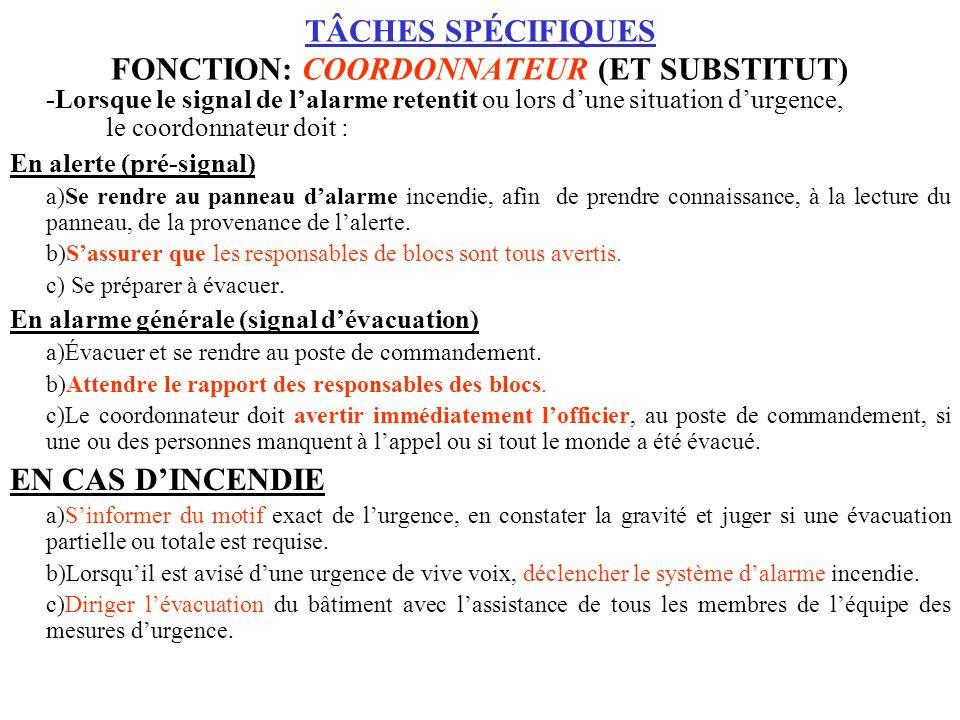 TÂCHES SPÉCIFIQUES FONCTION: COORDONNATEUR (ET SUBSTITUT)