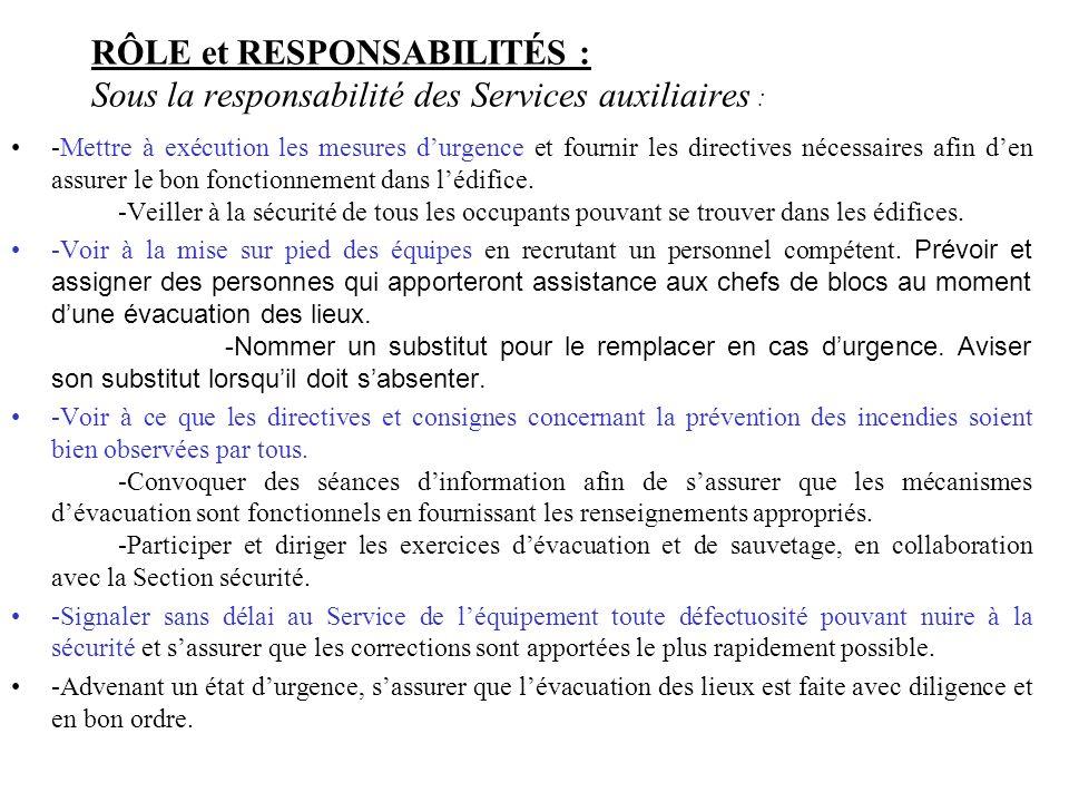 RÔLE et RESPONSABILITÉS : Sous la responsabilité des Services auxiliaires :
