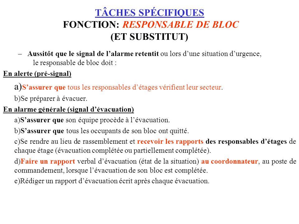TÂCHES SPÉCIFIQUES FONCTION: RESPONSABLE DE BLOC (ET SUBSTITUT)