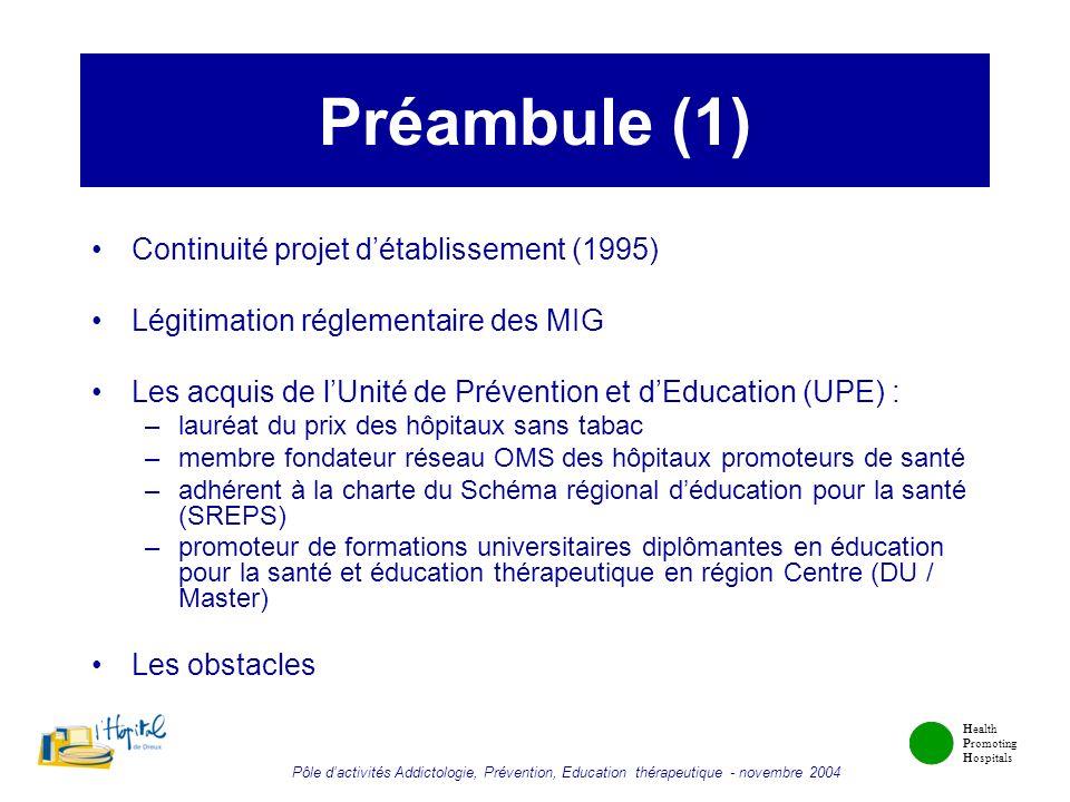 Préambule (1) Continuité projet d'établissement (1995)
