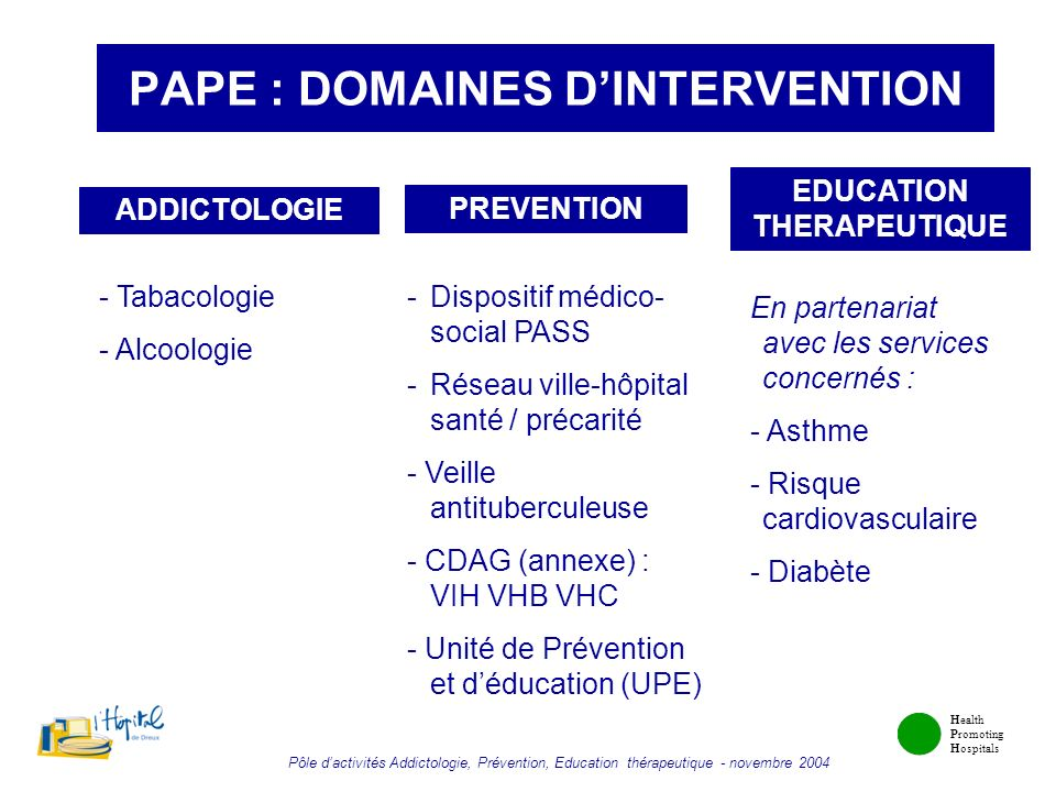 PAPE : DOMAINES D'INTERVENTION