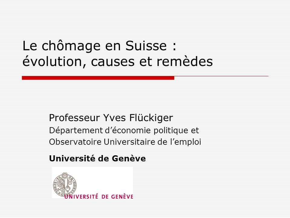 Le chômage en Suisse : évolution, causes et remèdes