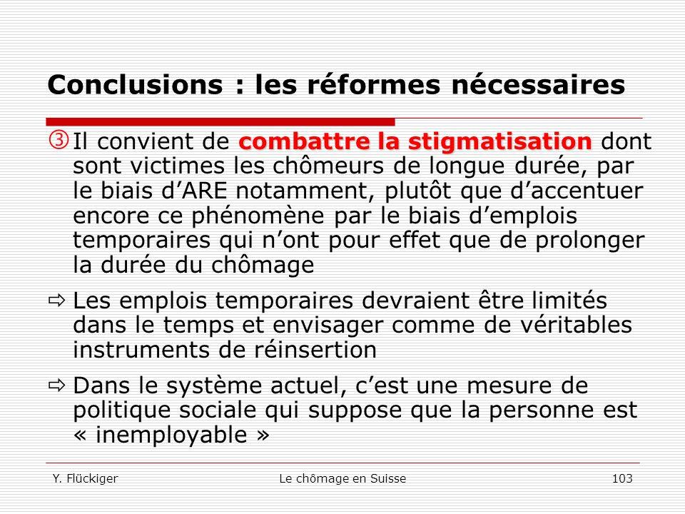 Conclusions : les réformes nécessaires