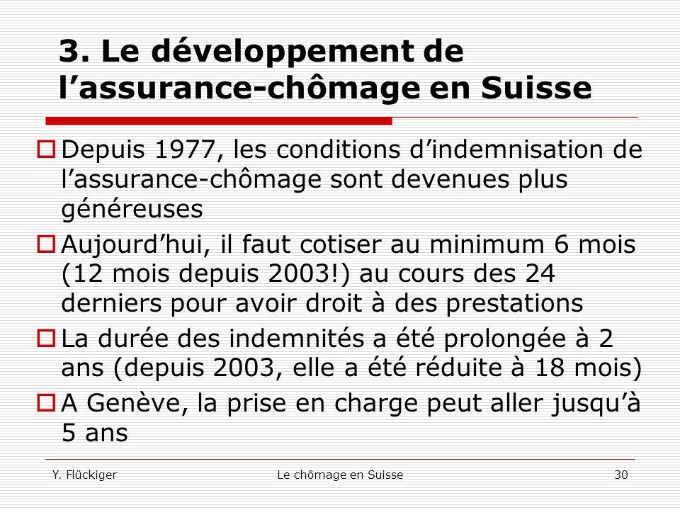 3. Le développement de l'assurance-chômage en Suisse