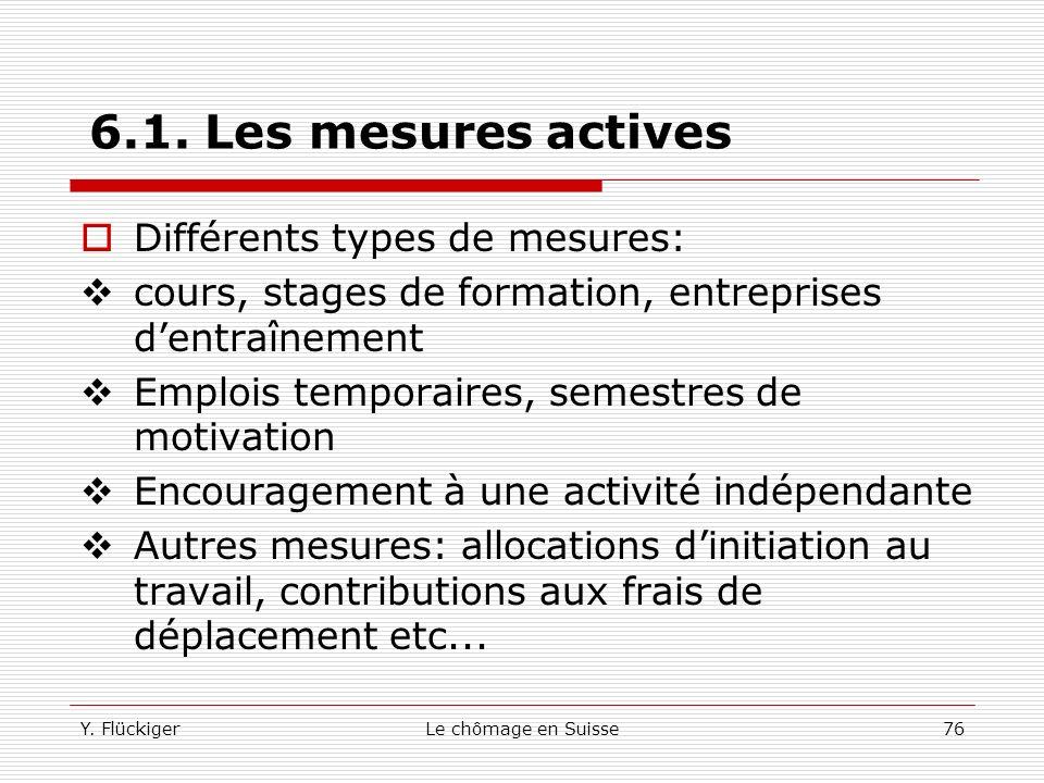 6.1. Les mesures actives Différents types de mesures: